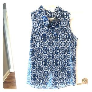 Mudpie royal blue and white printed top